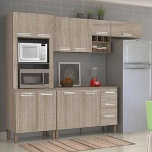 Cozinha Compacta Ametista com Balcão 10 Portas Composição 7 Nogal - Kit's Paraná