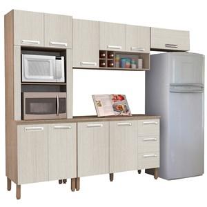 Cozinha Compacta Ametista com Balcão 10 Portas Composição 8 Nogal/Arena - Kit's Paraná