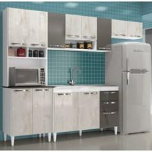 Cozinha Compacta com Balcão Carol 12 Portas Branco/Aspen/Canela - MPdecor