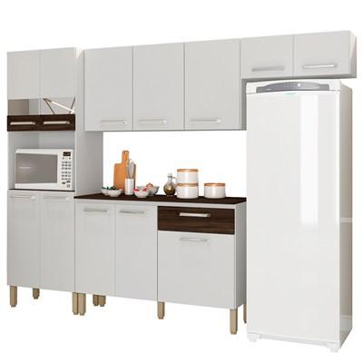 Cozinha Compacta com Balcão Versalhes 12 Portas Branco/White/Petróleo - Kit's Paraná
