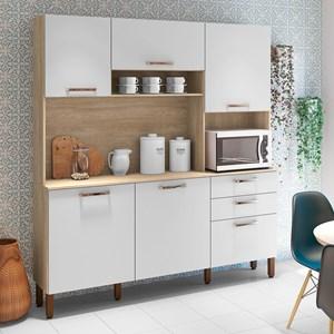 Cozinha Compacta Ferrara 6 Portas Nogal/White - Kit's Paraná