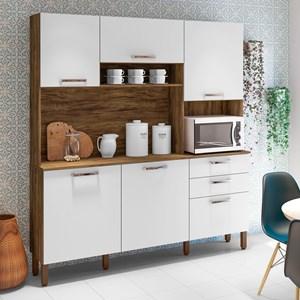 Cozinha Compacta Ferrara 6 Portas Savana/White - Kit's Paraná