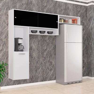 Cozinha Compacta Suspensa Thais Branco/Branco/Preto - Poquema