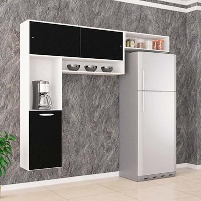 Cozinha Compacta Suspensa Thais Branco/Preto - Poquema