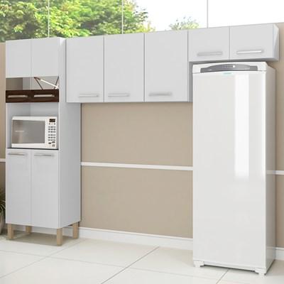 Cozinha Compacta Versalhes 9 Portas Branco/White/Petróleo - Kit's Paraná