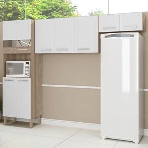 Cozinha Compacta Versalhes 9 Portas Nogal/White - Kit's Paraná