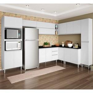 Cozinha Modulada 10 Peças Balcão com Tampo Vitória Branco - Poquema