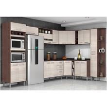 Cozinha Modulada 13 Peças com Torre para Forno e Microondas Bruna II Capuccino com Amêndoa - Poquema
