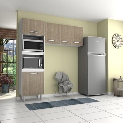 Cozinha Modulada 2 Módulos Composição 6 Branco/Castanho - Lumil