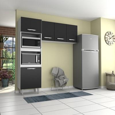 Cozinha Modulada 2 Módulos Composição 6 Branco/Preto - Lumil
