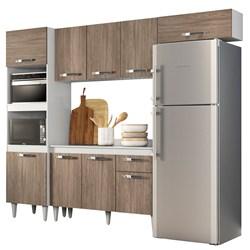 Cozinha Modulada 4 Módulos Composição 2 Branco/Castanho - Lumil Móveis