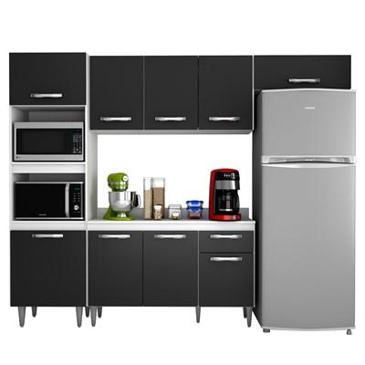 Cozinha Modulada 4 Módulos Composição 2 Branco/Preto - Lumil