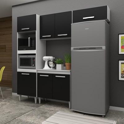 Cozinha Modulada 4 Módulos Composição 4 Branco/Preto - Lumil Móveis