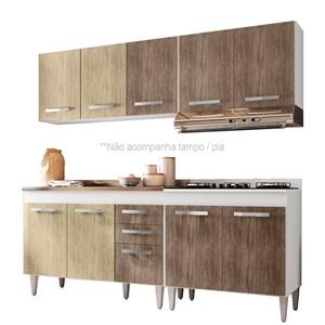 Cozinha Modulada 4 Módulos Composição 5 Branco/Carvalho/Castanho - Lumil Móveis