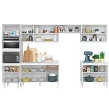 Cozinha Modulada 6 Módulos Composição 1 Branco/Carvalho/Castanho - Lumil Móveis