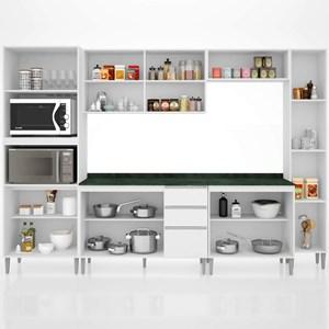 Cozinha Modulada 7 Peças Balcão com Tampo Vitória Branco - Poquema