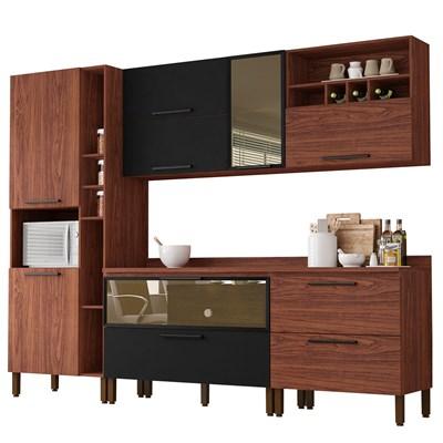 Cozinha Modulada 7 Peças Viv Concept C05 Nogueira/Black - Kit´s Paraná