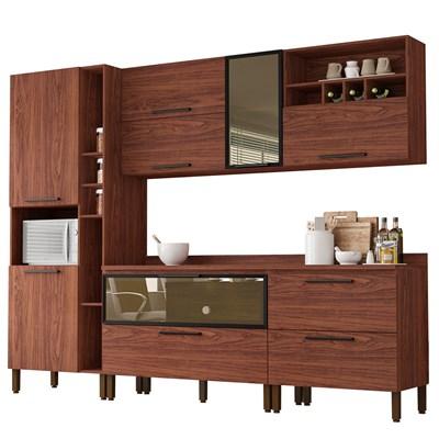 Cozinha Modulada 7 Peças Viv Concept C05 Nogueira/Nogueira - Kit´s Paraná