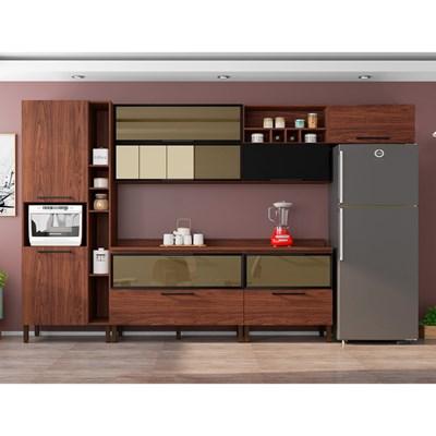 Cozinha Modulada 8 Peças Viv Concept C06 Black/Nogueira - Kit´s Paraná