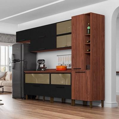 Cozinha Modulada 8 Peças Viv Concept C07 Black/Nogueira - Kit´s Paraná