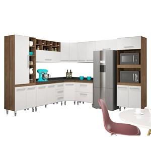 Cozinha Modulada 9 Peças Monaliza Terraro/Branco - MoveMax