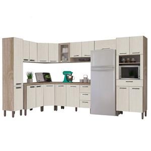 Cozinha Modulada Ametista 11 Módulos Composição 1 Nogal /Arena - Kit's Paraná