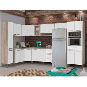 Cozinha Modulada Ametista 11 Módulos Composição 1 Nogal/Branco - Kit's Paraná