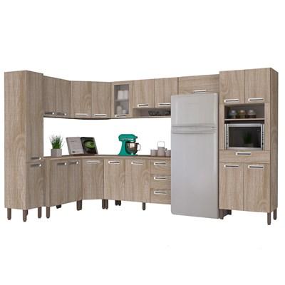 Cozinha Modulada Ametista 11 Módulos Composição 1 Nogal - Kit's Paraná