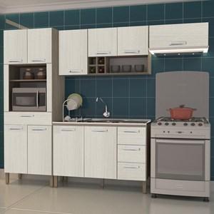 Cozinha Modulada Ametista 4 Módulos Composição 3 Nogal/Arena - Kit's Paraná