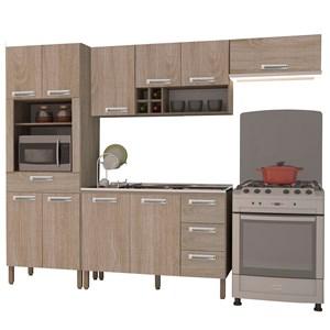 Cozinha Modulada Ametista 4 Módulos Composição 3 Nogal - Kit's Paraná