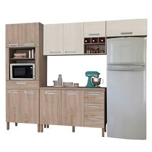 Cozinha Modulada Ametista 5 Módulos Composição 2 Nogal/Arena - Kit's Paraná
