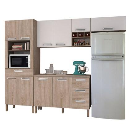 Cozinha Modulada Ametista 5 Módulos Composição 2 Nogal/Branco - Kit's Paraná