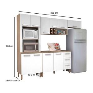 Cozinha Modulada Ametista 5 Módulos Composição 4 Nogal/Branco - Kit's Paraná