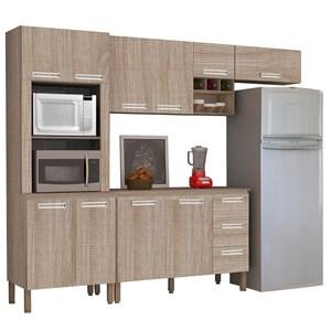 Cozinha Modulada Ametista 5 Módulos Composição 5 Nogal - Kit's Paraná