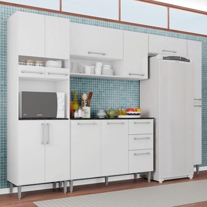 Cozinha Modulada Balcão Para Pia 3 Peças Sabrina Branco - Poquema