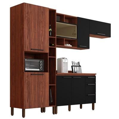 Cozinha Modulada Compacta 5 Peças Viv Concept C01 Nogueira/Black - Kit´s Paraná