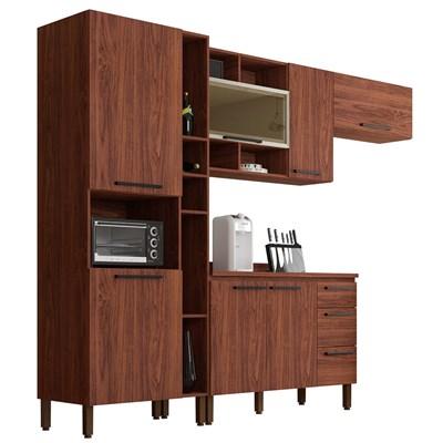 Cozinha Modulada Compacta 5 Peças Viv Concept C01 Nogueira - Kit´s Paraná