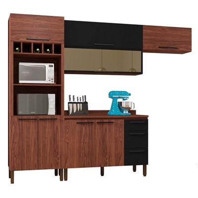 Cozinha Modulada Compacta 5 Peças Viv Concept C02 Nogueira/Black - Kit´s Paraná