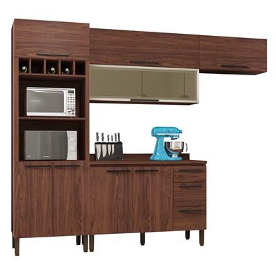Cozinha Modulada Compacta 5 Peças Viv Concept C02 Nogueira - Kit´s Paraná