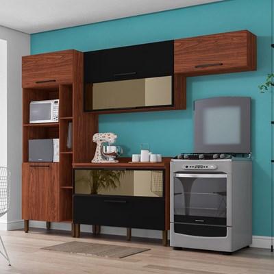 Cozinha Modulada Compacta 5 Peças Viv Concept C03 Nogueira/Black - Kit´s Paraná