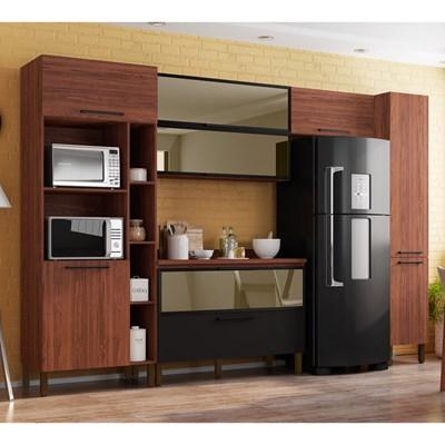 Cozinha Modulada Compacta 6 Peças Viv Concept C04 Nogueira/Black - Kit´s Paraná