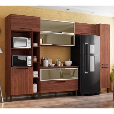 Cozinha Modulada Compacta 6 Peças Viv Concept C04 Nogueira - Kit´s Paraná
