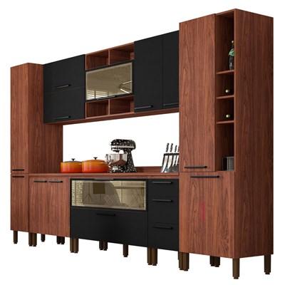Cozinha Modulada Completa 11 Peças Viv Concept C09 Black/Nogueira - Kit´s Paraná