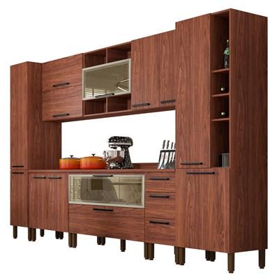 Cozinha Modulada Completa 11 Peças Viv Concept C09 Nogueira/Off White - Kit´s Paraná