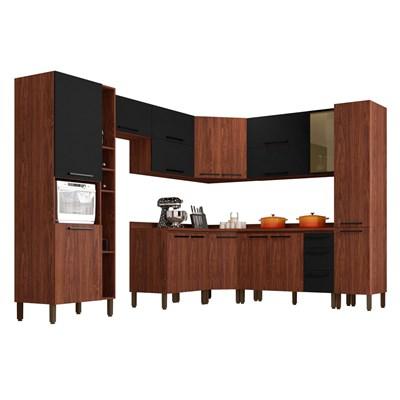 Cozinha Modulada Completa 12 Peças Viv Concept C11 Black/Nogueira - Kit´s Paraná