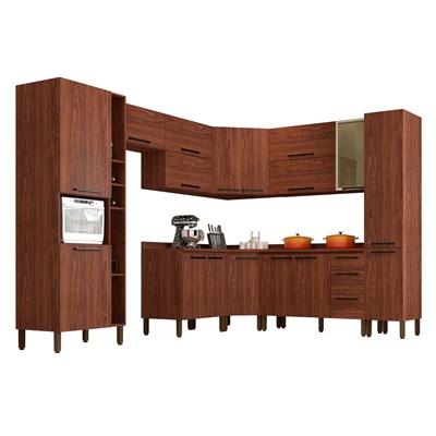 Cozinha Modulada Completa 12 Peças Viv Concept C11 Nogueira/Off White - Kit´s Paraná