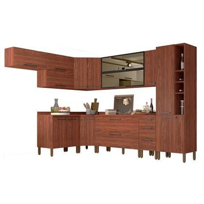 Cozinha Modulada Completa 14 Peças Viv Concept C10 Nogueira/Black - Kit´s Paraná