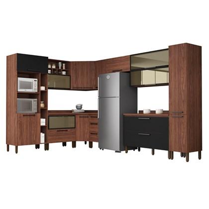 Cozinha Modulada Completa 15 Peças Viv Concept C12 Black/Nogueira - Kit´s Paraná