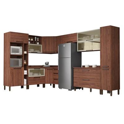 Cozinha Modulada Completa 15 Peças Viv Concept C12 Nogueira/Off White - Kit´s Paraná