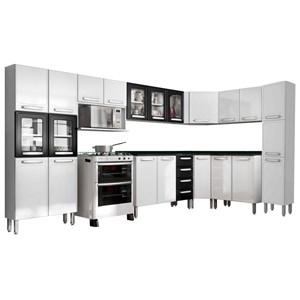 Cozinha Modulada Evidence Aço 10 Módulos Composição 55 Branco/Preto - Bertolini
